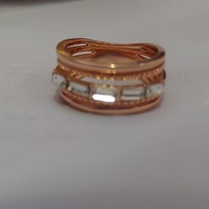 Rose gold and cubic zirconia ring